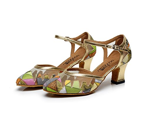 UK4 Women's Sandals Jazz Latin heeled5 Modern Heels JSHOE EU35 Samba High Shoes Salsa Dance Tango 5cm Shoes B Tea Our36 T4PxdR