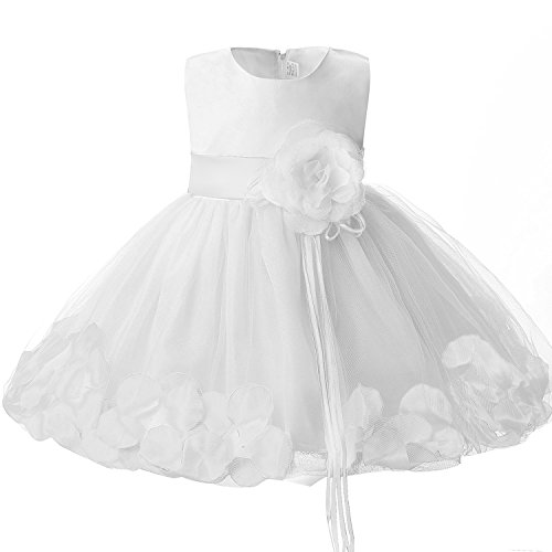 (NNJXD Girl Tutu Flower Petals Bow Bridal Dress for Toddler Girl Size 10-12 Months White)
