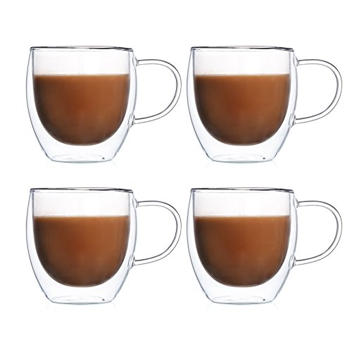 DICTEA - Glass Coffee or Tea Drinking Glasses Set of 4 Mugs - 8oz Double Wall Thermal Insulated Cups with Handle, Espresso Latte Cappuccino Stackable Glassware