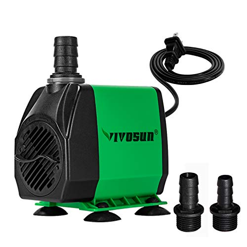 (VIVOSUN 800GPH Submersible Pump(3000L/H, 24W), Ultra Quiet Water Pump with 10ft High Lift, Fountain Pump with 5ft Power Cord, 3 Nozzles for Fish Tank, Pond, Aquarium, Statuary, Hydroponics)
