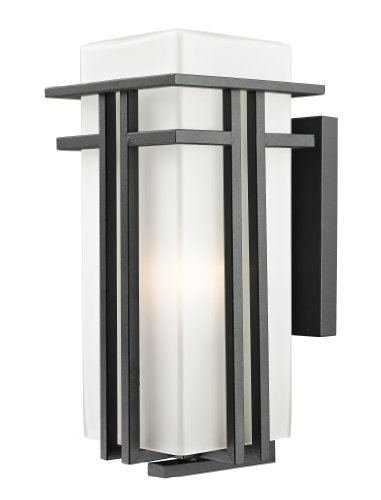 Z-Lite 549B-BK Outdoor Wall Light with  Black Finish, Seedy and Matte Opal