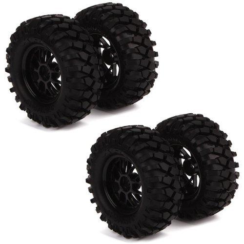 DN RC1:10 Off-Road RC Car 12mm Hub Y Type Wheel Rim & Tires Black (Pack of 4)