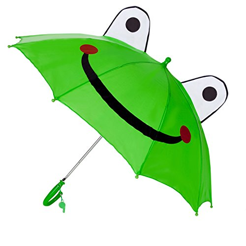 Aerusi Kids Children Pop Up Adorable Cartoon Umbrella (Green Frog) (Frog Umbrella)