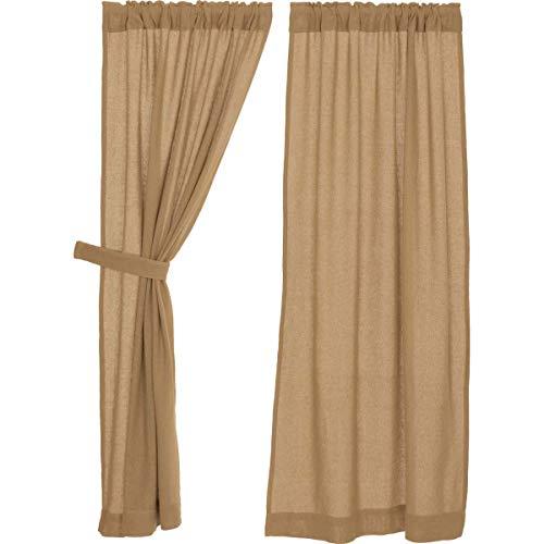 Cheap VHC Brands Classic Country Farmhouse Window Curtains – Burlap Tan Short Curtain Panel Pair, Natural