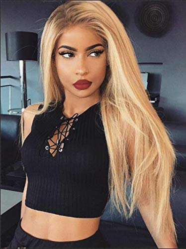 Daiqi Natural Looking Ombre Blonde Long Lace Front Wigs for White Women Dark Roots Ombre Blonde Lace Front Wig Straight Heat Resist Synthetic Hair Lace Front Blonde Wig 24inch(4.5'' Deep Side Part)