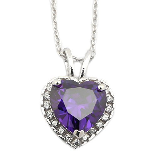 Large Amethyst Heart (14k White Gold February Birthstone Simulated Amethyst CZ Large Halo Heart Pendant Necklace - 16