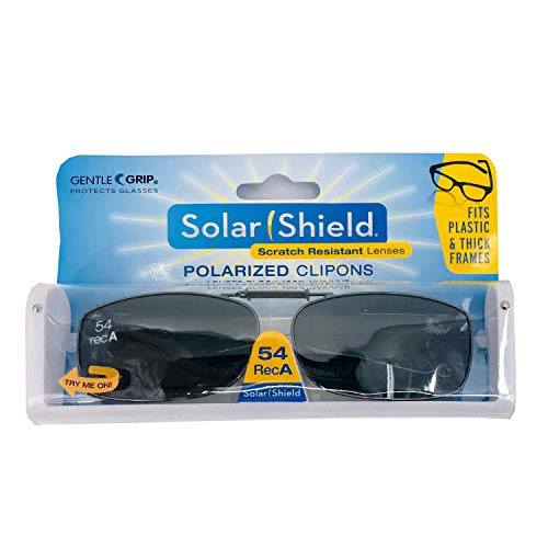 Solar Shields 54 REC A by Foster Grant - Gray Optics Polarized Clip On Sunglasses Gray Full Frame & Scratch Resistant Lens with Storage Case