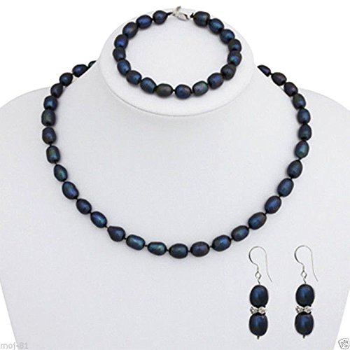 7-8mm Natural Black Rice Freshwater Pearl Necklace Bracelet Earring Jewelry Set