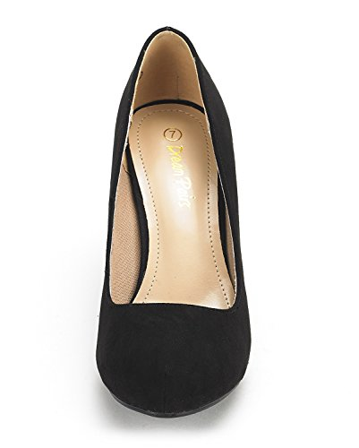 DREAM PAIRS Tiffany Womens New Classic Elegant Versatile Low Stiletto Heel Dress Platform Pumps Shoes Tiffanny-black Suede feAx1s6