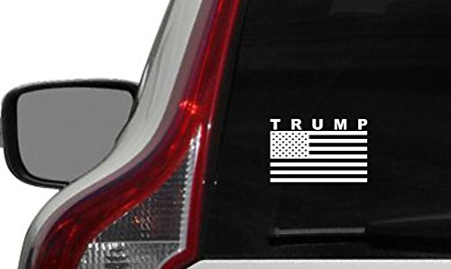 Trump American Flag Version 2 Car Vinyl Sticker Decal Bumper Sticker for Auto Cars Trucks Windshield Custom Walls Windows Ipad Macbook Laptop and More (WHITE)
