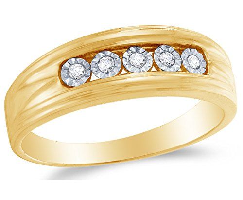 Size 10.5 - 10K Yellow Gold Round Diamond Mens Wedding Band Ring - Channel Setting (1/10 cttw.)