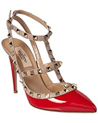 Priced as marked. No additional discount at checkout.. Please note: Size selections are European. For US conversions please reference size chart.. Made in Italy. Color/material: red patent leather. Design details: platinum-finish rockstuds. A...