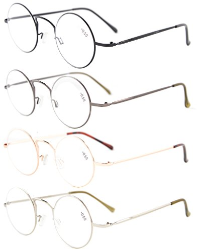 Eyekepper 4-pack Readers Lightweight Round Metal Circle Reading Glasses - Of Glasses Out Fell Lens