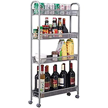 Amazon Com Homfa 5 Tier Mesh Wire Rolling Cart
