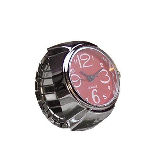 Fabal Dial Quartz Analog Watch Creative Steel Cool Elastic Quartz Finger Ring Watch (Red)