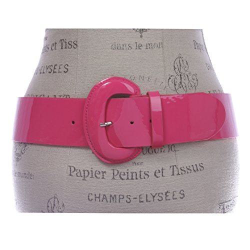 2 1/4 Women's Wide Contour Patent Leather Belt, Hot Pink | m/l 35 ~ 38