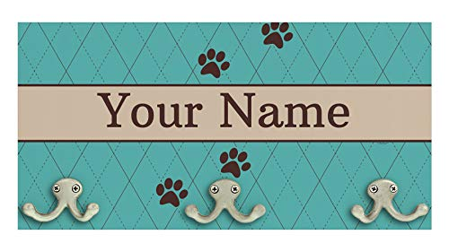 ThisWear Rustic Home Decor Accents Last Name Paw Print Wedding Gift Personalized Wood Wall Mounted Coat Rack