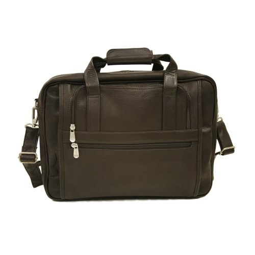 Piel Leather Large Ultra Compact Computer Bag, Chocolate, One Size by Piel Leather