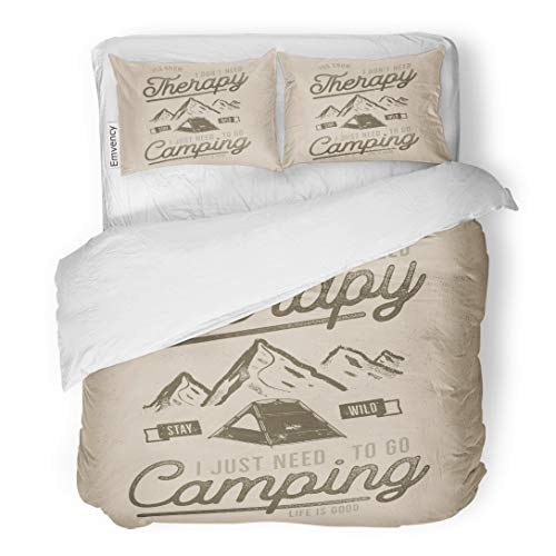 (Emvency Bedding Duvet Cover Set Vintage Wanderlust Camping Thematic Tee Graphics Mountains and Tent Symbols Life is Good Sign Travel Stock 3 Piece Twin 68