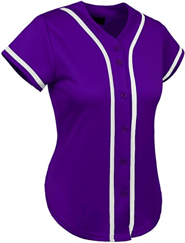 Hat and Beyond UP Womens Baseball Button Down Athletic Tee Short Sleeve Softball Jersey Active Plain Sport T Shirt (X-Large, 01 Purple/White) (T-shirt Designs Softball)