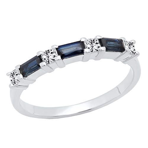 (Dazzlingrock Collection 10K 4X2 MM Baguette Blue Sapphire & Princess Diamond Ladies Wedding Band, White Gold, Size 5.5)