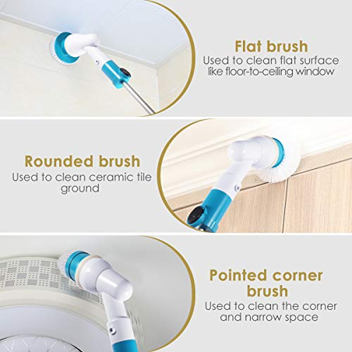 Spin Scrubber, 360 Cordless Tub and Tile Scrubber, Multi-Purpose Power Surface Cleaner with 3 Replaceable Cleaning Scrubber Brush Heads, 1 Extension Arm and Adapter by Fannel (Image #5)