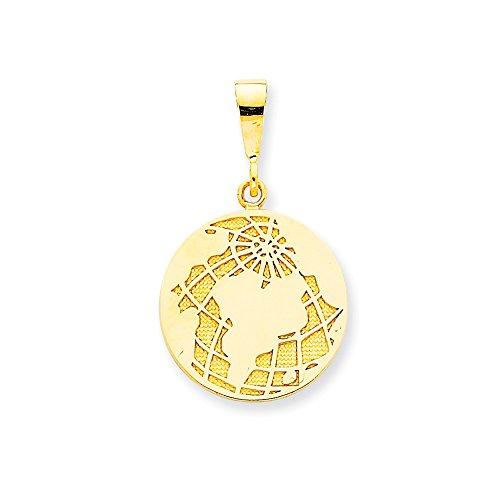 (14k Yellow Gold Globe Pendant 29.5mm)