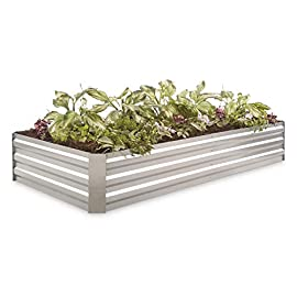 "CASTLECREEK Large Galvanized Steel Planter Box 13 A larger take on theoriginal design. - Sometimes your flowers and veggies need a little more space to stretch out. Give 'em the room they need! This CASTLECREEK Galvanized Steel Planter Box is a great way to enjoy raised-bed gardening. It's lightweight but strong, and it features an open floor to encourage deep root growth. Plant flowers, veggies, herbs...it's up to you. Plus, the modular design means you can buy multiple Boxes and fit them together to make an even larger garden bed. Made of corrugated, galvanized steel; Consists of 6 side panels and 4 corner pieces; Side panels are 0.4mm thick; Corner pieces are 0.6mm thick; Light assembly required; Construction: Galvanized steel; Dimensions: 72""l. x 36""w. x 11.8""h.; Weight: 21.6 lbs."