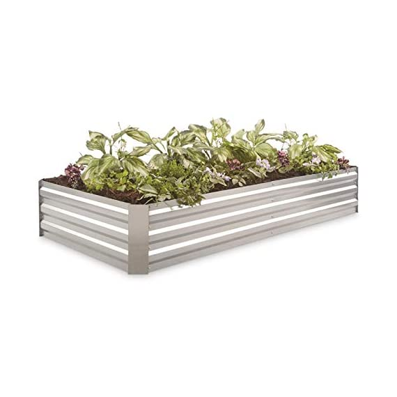 """CASTLECREEK Large Galvanized Steel Planter Box 1 A larger take on theoriginal design. - Sometimes your flowers and veggies need a little more space to stretch out. Give 'em the room they need! This CASTLECREEK Galvanized Steel Planter Box is a great way to enjoy raised-bed gardening. It's lightweight but strong, and it features an open floor to encourage deep root growth. Plant flowers, veggies, herbs...it's up to you. Plus, the modular design means you can buy multiple Boxes and fit them together to make an even larger garden bed. Made of corrugated, galvanized steel; Consists of 6 side panels and 4 corner pieces; Side panels are 0.4mm thick; Corner pieces are 0.6mm thick; Light assembly required; Construction: Galvanized steel; Dimensions: 72""""l. x 36""""w. x 11.8""""h.; Weight: 21.6 lbs."""