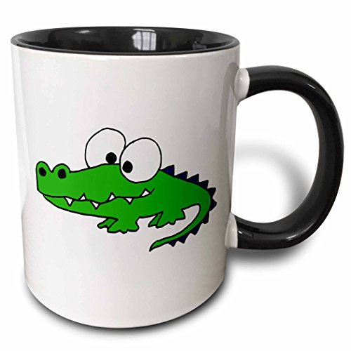 3dRose 195268_4 Funky Green Alligator Mug, 11 oz, Black