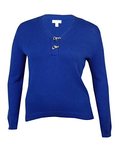 Charter Club Womens Plus Knit Long Sleeves Henley Sweater Blue 0X ()