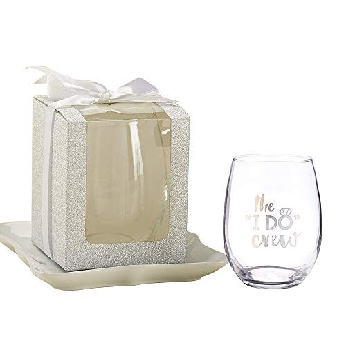 (Kate Aspen Gift Boxes for Stemless Wine Glasses, 9 oz - 36 Pieces - Perfect Wedding Favors, Bachelorette Favor or Bridal Shower Favor, Silver. Stemless Wine Glass Sold Seperately)