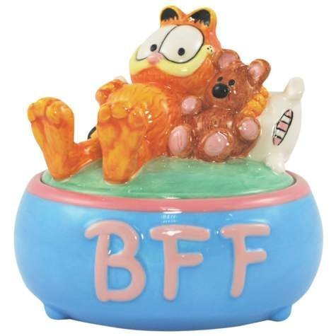 Collectible Ceramic Teddy (4 Inch BFF Garfield And Teddy Bear Ceramic Painted Trinket Box)