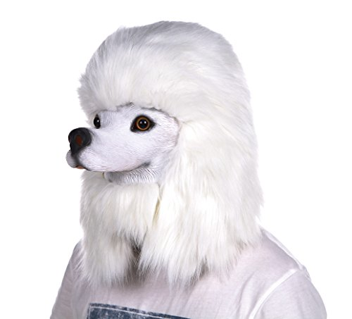 Lubber halloween poodle costume head mask latex animal head mask white (Latex Masks Halloween)
