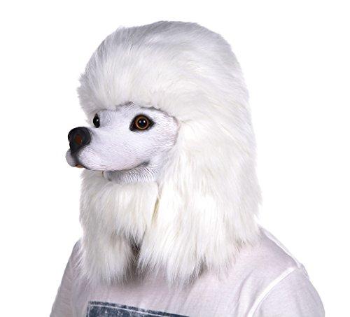 Lubber halloween poodle costume head mask latex animal head mask white (Realistic Halloween Masks)