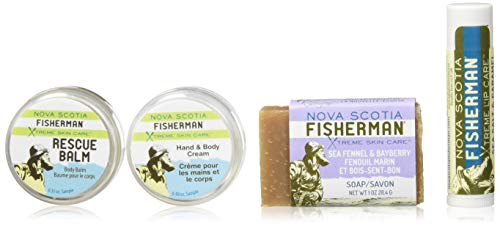 Nova Scotia Fisherman - Stem to Stern Pack, with Mini Soap, Lip Balm, Hand and Body Cream, and Rescue Balm, No Artificial Ingredients, Made with Nova Scotia Sea Kelp (4 Pcs) (Stem Hand)