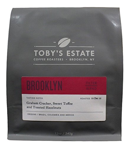 Toby's Estate Coffee, Brooklyn Blend 12 oz bag, Whole Bean - Delivery Flat Time Rate Usps