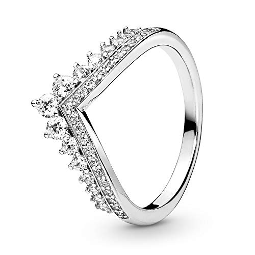 PANDORA - Princess Wish Ring in Sterling Silver with Clear Cubic Zirconia, Size 8.5 US / 58 Euro
