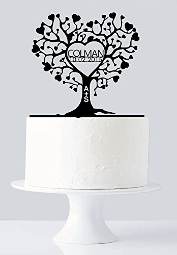 Unique Wedding Cake Topper - Gold Love Tree Cake Topper - Very Unique Custom Last Name & Date