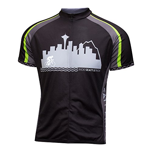 Ride Seattle Skyline Cycling Jersey, Black and Gray, Men's Relaxed Club Cut