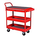 Goplus Tool Cart Rolling 36-Inch Steel Tool Chest Box Wheels Trays w/ Locking Drawer, Red