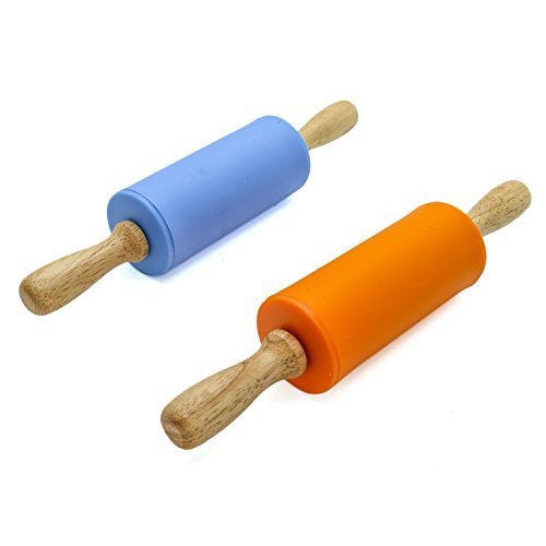 $7.89 Rugjut 2 Pack Mini Rolling Pin, Kids Size Wooden Handle Rolling Pin Non-Stick Silicone Rolling Pins(Blue,Orange)