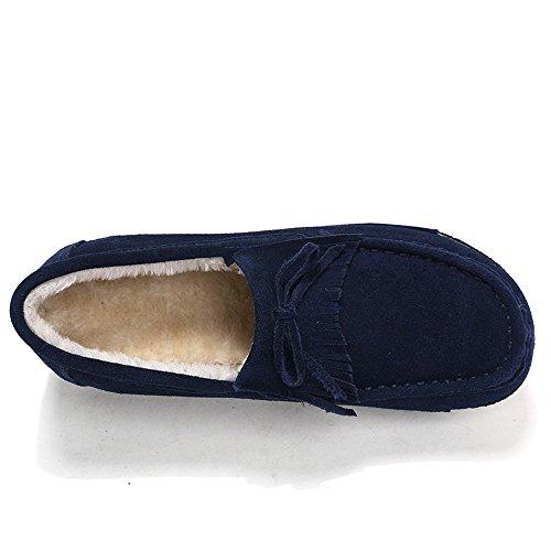 Enllerviid Enlleviid Donna Slip-on In Pelle Scamosciata Guida Mocassini Piattaforma Mocassini Comfort A Piedi Scarpe Da Lavoro Sh606 Blu-pelliccia