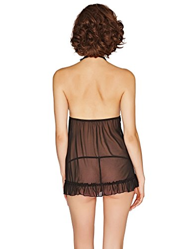 Mio Sexy Amaretto Black Lace Chemise and Thong Set B2721C