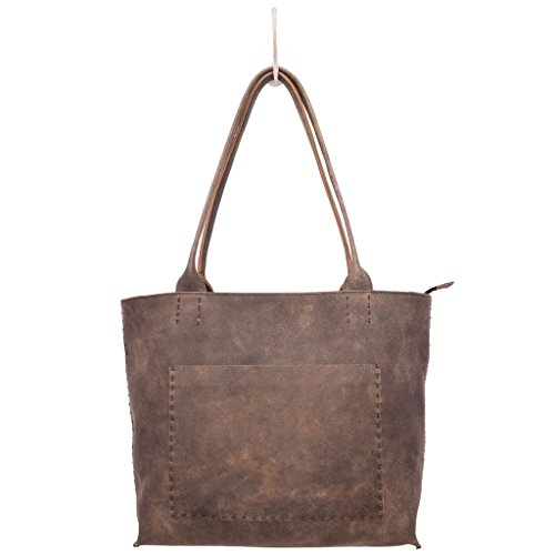 Latico Leathers Sonia Tote Genuine Authentic Luxury Leather, Designer Made, Business Fashion and Casual Wear, Distressed Brown by Latico