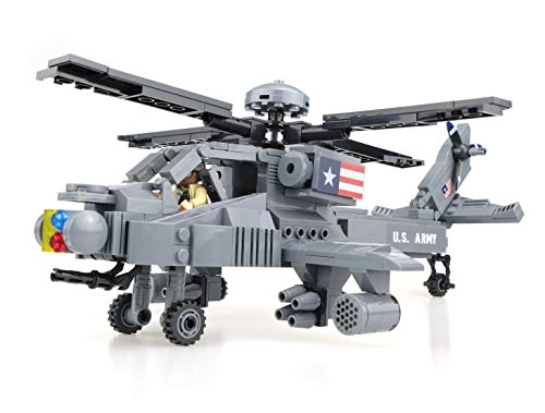 - inFUNity US Army Apache Helicopter Toy Blocks Model (388 pcs), Great to Pair with Military Vehicles, Army Minifigures, Bricks Compatible with Lego Army Toys