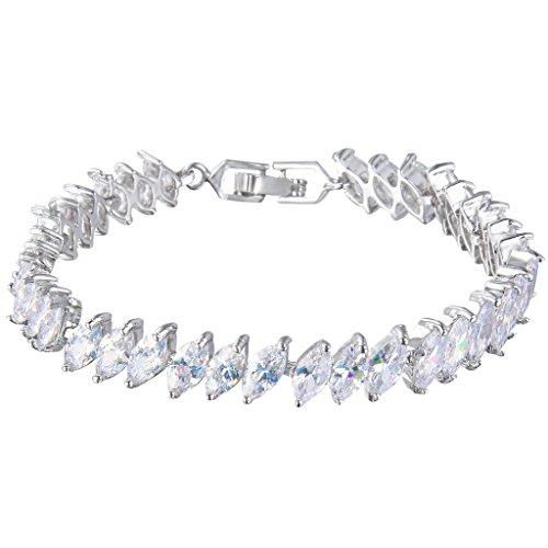 EVER FAITH® Silver-Tone Zircon Wedding Single Row Marquise-shaped Roman Tennis Bracelet Clear (Roman Head Wear)