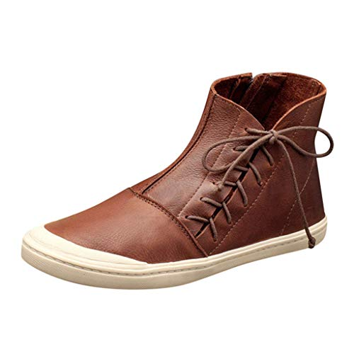 Women Vintage Retro High-Top Short Ankle Boots Casual Side Zipper Lace-up Flat Booties Round Toe Shoes Size 4.5-11.5