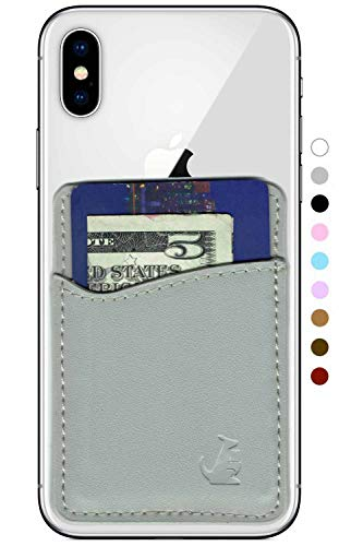 WALLAROO Premium Leather Phone Card Holder Stick On Wallet for iPhone and Android Smartphones (Light Grey Leather)