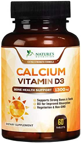Calcium Supplement with Vitamin D3 Extra Strength 1300mg - Calcium Carbonate to Support Osteoporosis, Healthy Bones & Strong Teeth, Highly Absorbable Pills for Men & Women, Made in USA - 60 Tablets